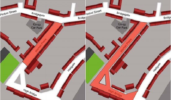 Details of the proposed location options of the temporary pedestrianised area in Howden