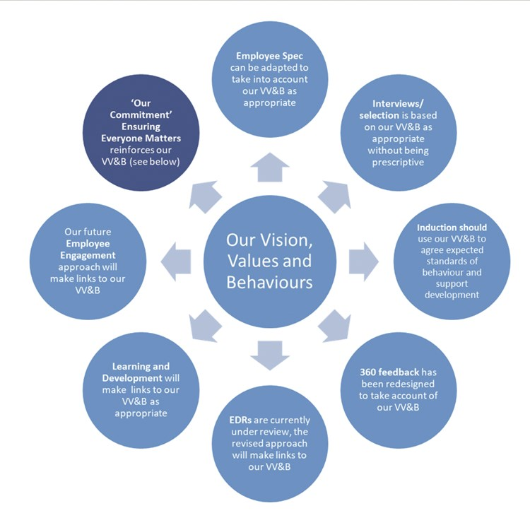 Our Vision, Values and Behaviours Graphic